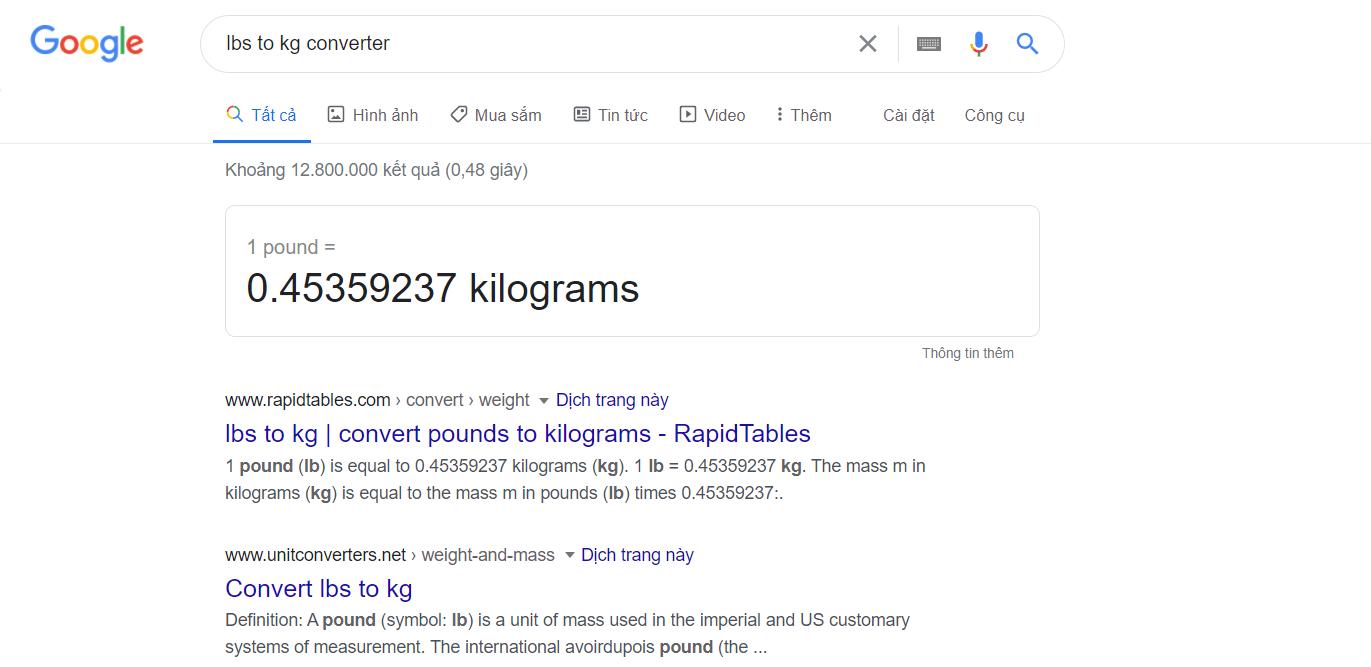 hướng dẫn đổi lbs sang kg
