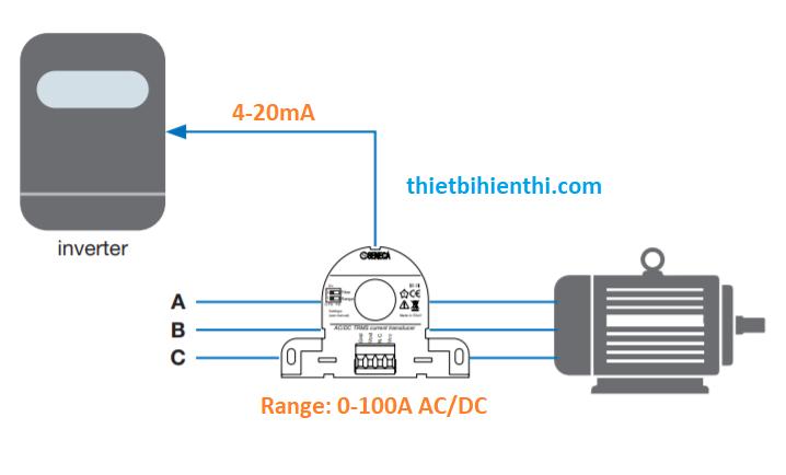 biến tần điều khiển tốc độ động cơ với current transformer ouput 4-20ma